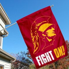 USC Trojan House Flag with Fight On by College Flags and Banners Co.. $33.95. Viewable and Readable Correctly on Both Sides. School Logos are Screen Printed into Material. Officially Licensed by University of Southern California. 28 (w) x 40 (h) Inches in Size with Top Pole Sleeve. Two-Ply Nylon Material with Sewn-In Liner. USC Trojans House Flag Fight On is 28x40 inches in size, is made of Two-Ply Nylon with Liner, has a top sleeve for insertion of a wood or aluminum flagpole, a...