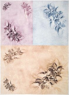 Ricepaper for Decoupage Decopatch Scrapbook Craft Sheet A/3 Roses on Three Color