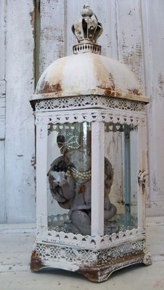 Large glass metal display case ornate shabby chic white observation showcase French inspired home decor anita spero