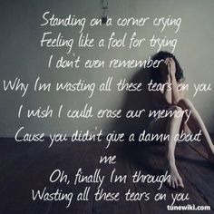 Wasting All These Tears ~ Cassadee Pope fav song Country Song Quotes, Country Music Lyrics, Song Lyric Quotes, Music Quotes, Music Songs, True Quotes, Alone, Music Love, Love Songs