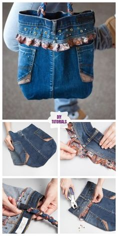 New Cost-Free 20 Upcycled Demin Jean Bag DIY Tutorials - DIY Tutorials Concepts I enjoy Jeans ! And even more I like to sew my own, personal Jeans. Next Jeans Sew Along I'm pla Denim Tote Bags, Denim Handbags, Denim Purse, Denim Bag Patterns, Artisanats Denim, Jean Diy, Blue Jean Purses, Diy Bags Tutorial, Denim Ideas