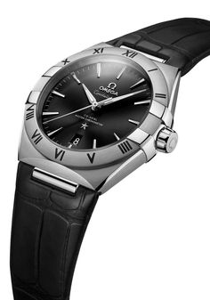 Omega Constellation Gents in steel on black leather strap Gentlemans Club, Luxury Watches, Rolex Watches, Cool Watches, Watches For Men, The Freedom Tower, Gold Models, Omega Constellation, Sporty Look