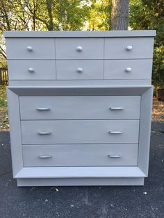 Grey Midcentury Highboy / Five Drawer Dresser / Chalk Paint / Annie Sloan / French Linen / Chest of Drawers by GroveJobShop on Etsy