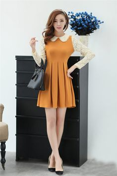 Dress DS3407 Yellow + Belt - Tamochi - Toko baju wanita murah dan grosir, fashion aksesoris korea #fashion #korea #olshop