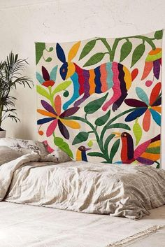 """Otomi Mexican Tapestry Colorful Rabbit Wall Hanging Fabric Wallpaper Bedspread Home Decor,60""""x 80"""",Twin Size. colorful rabbit Painting Wall Hanging Tapestry. Perfect for a wall hanging, tablecloth, beach forts, Dorm, window curtain,collgeg Dorm,wall art,Picnic blanket or other room idea. 