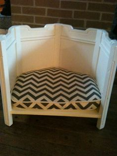 Upcycled dog bed made from end table with chevron by SavannaStyle, $75.00