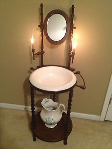 Antique Vintage Wood Wash Basin Stand W Mirror Candle Holders Bowl
