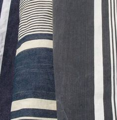 Lot of Vintage French Fabric Navy Striped by VintageFrenchFabric