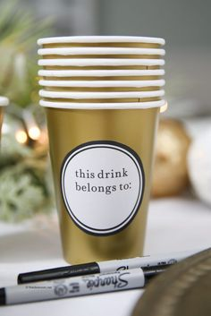DIY party drink labels from The Idea Room (Christmas Party Ideas)