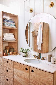 Home Interior Styles best DIY bathroom vanity ideas.Home Interior Styles best DIY bathroom vanity ideas Diy Bathroom Vanity, Wood Bathroom, Bathroom Lighting, Vanity Lighting, Master Bathroom, Bathroom Ideas, Remodel Bathroom, Bathroom Cabinets, White Bathroom