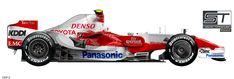 F1 2008, Technical Illustration, F 1, Toyota, Racing, Vehicles, Auto Racing, Motorbikes, Cars