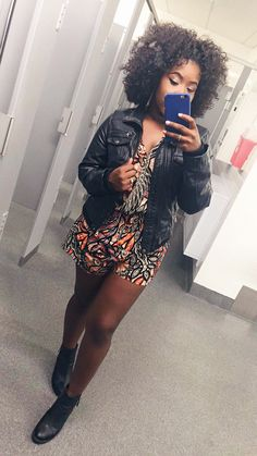 Ootn ft. H&M romper, leather jacket, and booties.