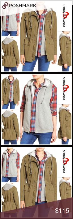"""UTILITY JACKET & VEST LAYER 💟 NEW WITH TAGS💟  SIZING- L = 12-14   UTILITY JACKET & VEST LAYER  * Drawstring hood  * Removable supersoft vest  * Front zip closure w/ covered snap placket, & front flap patch pockets  * Appox 30"""" long  * Inner drawcord waist Item#   Fabric- 97% cotton, 3% Spandex  Color- Olive Grove   SEARCH WORDS# Anorak boyfriend oversized military long bomber camel  🚫No Trades🚫 ✅Offers Considered✅ ITEM# Treasure & Bond Jackets & Coats Utility Jackets"""