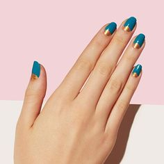 Highly pigmented blue and gold make for the perfect Social Circle mani. Nail Polish Art, Nail Polish Designs, Nail Art Designs, Gorgeous Nails, Love Nails, Pretty Nails, Paintbox Nails, Oval Shaped Nails, Color Block Nails