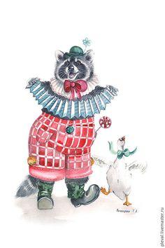 Животные ручной работы. Ярмарка Мастеров - ручная работа. Купить Картина акварелью Енот полоскун с гармошкой клоун цирк. Handmade.