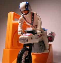 Evel Knievel on his jet cycle