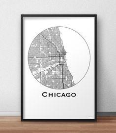 Affiche A3 Carte Chicago Etats-Unis Minimalist Map - City map, Poster de ville, Décoration murale, Plan de ville