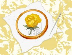 yellow rose embroidery