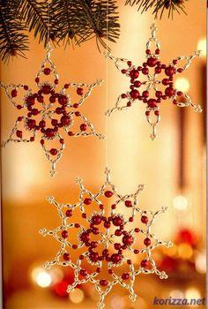 Новогодние украшения - Часть 1. Снежинки из бисера   Корица