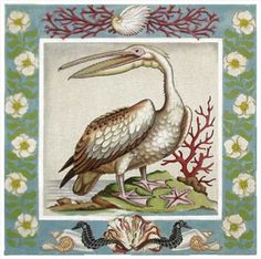 Melissa Shirley Designs | Hand Painted Needlepoint | Vintage White Pelican