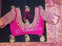 Nakshatra Design Studio By Sushmita. Contact : 02 May 2017 Wedding Saree Blouse Designs, Silk Saree Blouse Designs, Fancy Blouse Designs, Stone Work Blouse, Maggam Work Designs, Stylish Blouse Design, Indian Designer Wear, Maggam Works, Indian Blouse