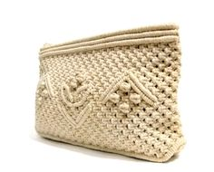 Cream white crochet clutch