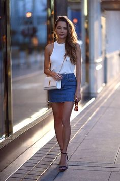 Jessica Ricks wearing a denim mini skirt and ankle strap heels. Beauty on High Heels Denim Mini Skirt, Mini Skirts, Jean Skirt, Skirt Outfits, Cute Outfits, Jessica Ricks, New Street Style, Girl Fashion, Fashion Outfits