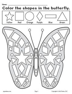 FREE Printable Kindergarten Butterfly Shapes Worksheet! Practice shape recognition, fine motor skills, and more with this fun butterfly themed shape worksheet. It's a perfect addition to your spring kindergarten lesson plans. Get the free shapes coloring worksheet here --> https://www.mpmschoolsupplies.com/ideas/7944/free-printable-butterfly-shapes-coloring-pages/