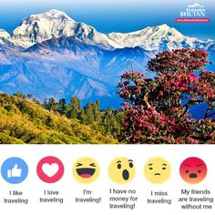 """""""Once a year, go someplace you've never been before."""" – Dalai Lama  How do you feel today? Tell us with one of these Emoji on Facebook.  #DestinationBhutan #Travel #Discover #Explore #Bhutan #Dream #people #love #fun #adventure #happiness"""