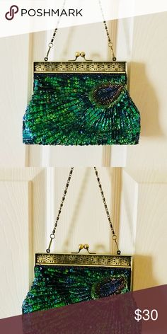 8f77a31d6de Peacock sequin evening handbag formal clutch Adorable little handbag in  peacock sequin pattern. Metal strap