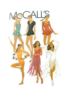 1980 McCall's 7350 Misses' Skating, Dancing, Gymnastics Bodysuits or Leotards, Uncut, Factory Folded Sewing Pattern Size 10 Bodysuits, Skating, Leotards, Gymnastics, 1980s, Activewear, Dancing, Sewing Patterns, Size 10