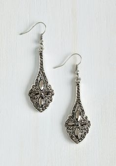 Gleams the World to Me Earrings in Pewter - Silver, Rhinestones, Special Occasion, Wedding, Vintage Inspired, 20s, 30s, Bride, Good