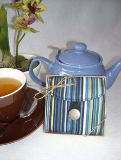 Tea Bag Travel Wallet - Blue and Gold Stripe, $9.95