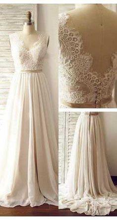 Lace A-Line Sexy Wedding Dresses,Long Wedding Dresses,Backless Wedding Dresses