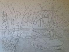 en esta imagen pueden verse arboles y un rió porque la tarea consistía en mostrar esa porte del campo en un dibujo,para realizarlo utilicé un lápiz y un folio tamaño A3.