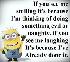 If you see me smiling, it's because I'm thinking of doing something evil or naughty. If you see me laughing, it's because I've already done it. - minion