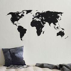 world map wall decal with destination stickers