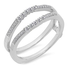 0.25 Carat (ctw) 14K Gold Round White Diamond Ladies Anniversary Wedding Band Guard Double Ring 1/4 CT ** Insider's special review you can't miss. Read more  : Jewelry Ring Enhancers
