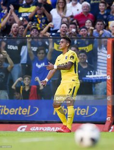 Cristian Pavon of Boca Juniors celebrates after scoring the second goal of his team during a match between Boca Juniors and San Martin de San Juan as part of the Superliga at Alberto J. Armando Stadium on February 2018 in Buenos Aires, Argentina. Neymar, Two By Two, Basketball Court, Football, Goals, Baseball Cards, Celebrities, Disney, Wallpaper