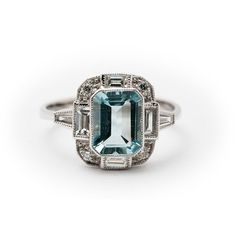 Aquamarine - Diamond - White Gold - Ring - Art Deco Style
