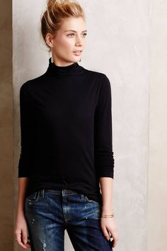 Love the classic Effie turtleneck with boyfriend jeans