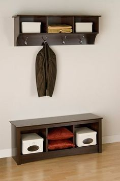 Hallway storage hanger coat rack and bench with storage dark brown espresso for my home for the house organization clean neat tidy