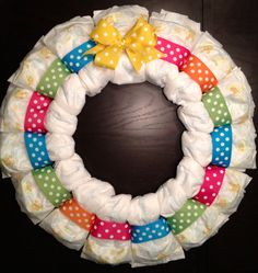 Custom Personalized DIAPER WREATH Baby Shower Gift Decoration BRIGHT Multi-Color Boy or Girl Unisex Gender Neutral Initial
