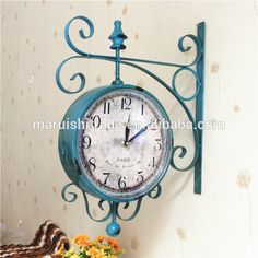 european style iron material mute wall hanging clock antique double sides metal wall clock for living