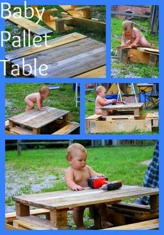 A DIY baby-sized picnic table from free pallets!