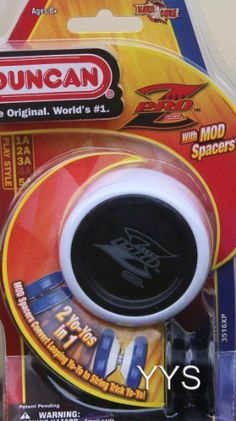 Duncan Pro Z Yo-Yo - White and Black with Mod by Duncan. $9.99. From the #1 Yo-Yo maker, a high performance yo-yo, with a ball bearing axle specially designed for high-speed string and looping tricks. The Pro-Z Competition Yo-Yo with its unique shape changing spacers allow for shape adjustment to switch between looping and string tricks. It is designed with input from world and national yo-yo champions