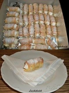 Picture of Recept - Kremrole Slovak Recipes, Czech Recipes, Russian Recipes, Cookie Desserts, Sweet Desserts, Sweet Recipes, Cream Puff Recipe, Ice Cream Recipes, Macaroons