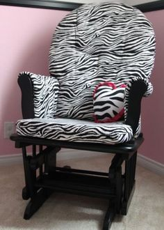 Great tutorial for recovering a Rocker/Glider.  I bought my Shermag off of Craigslist and it's in perfect condition - the cushions are still cushy and not dirty - but I'd like to recover it to match the nursery :)