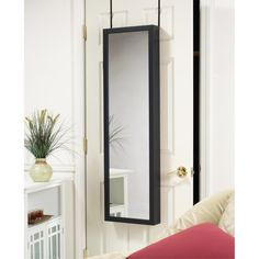 Black Over-the-Door Mirrored Jewelry Armoire