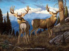 """Parting Company"" -mansanarez Wildlife Art by Tom Mansanarez, limited edition prints featuring elk, deer, antelope, moose, cats, cougar, mountain lion, hounds, horses, and bobcats. - Limited Edition Prints"